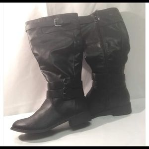 Black Riding Boots with built in card holder